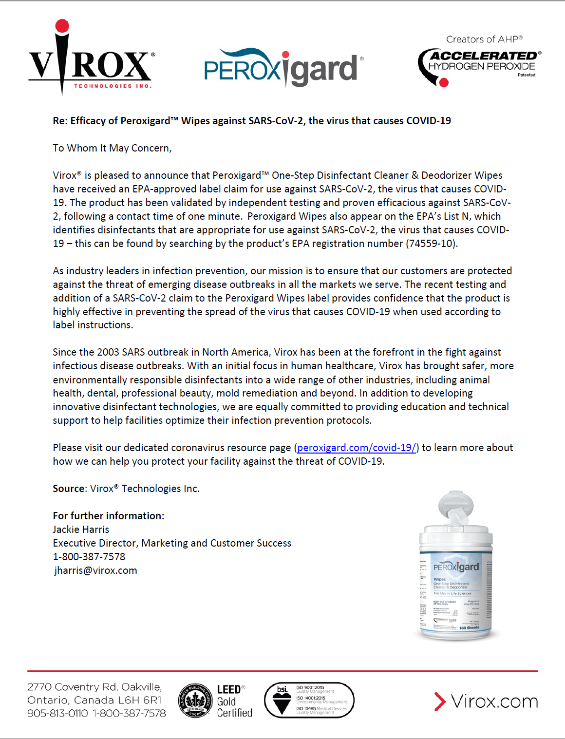 Peroxigard Wipes Efficacy Letter